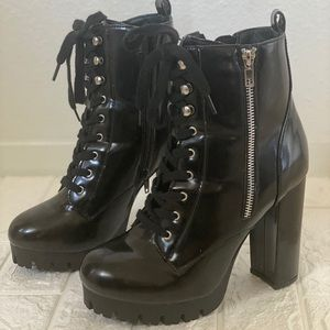 Faux Patent Leather Combat Boot Heels